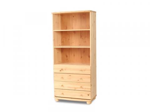 Claudia 4 fiókos, nyitott polcos szekrény, Kategória:Fenyő szekrények, Szélesség:80cm Hosszúság:45cm Magasság:180cm
