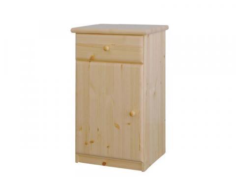 Csanád 1 ajtó + 1 fiók keskeny natúr fenyő komód, Kategória:Fenyő komódok és éjjeliszekrények, Szélesség:53cm Hosszúság:49cm Magasság:90cm