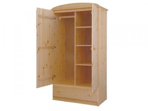 Csanád 2ajtós + 1fiókos válaszfalas szekrény, Kategória:Fenyő szekrények, Szélesség:103cm Hosszúság:55cm Magasság:190cm