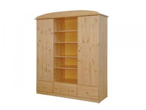 Csanád 3-as osztású középen nyitott szekrény, Kategória:Fenyő szekrények, Szélesség:165cm Hosszúság:55cm Magasság:190cm
