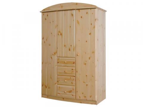 Csanád 3ajtós + 4fiókos íves szekrény, Kategória:Fenyő szekrények, Szélesség:130cm Hosszúság:62cm Magasság:194cm