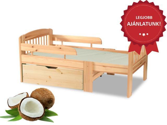 Leo gyerekágy minőségi kókuszmatraccal és ágyneműtartóval, Kategória:Gyerekágyak, Szélesség:0cm Hosszúság:0cm Magasság:0cm