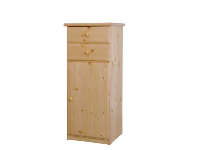Csanád 1 ajtó + 2 fiók magas keskeny natúr fenyő komód, Kategória:Fenyő komódok és éjjeliszekrények, Szélesség:53cm Hosszúság:49cm Magasság:128cm